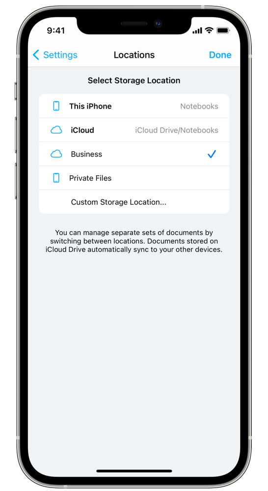 Select Notebooks' storage location: local or iCloud Drive